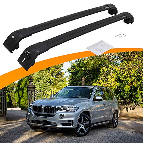 SnailAuto Fit for BMW X5 F15 2014-2018 Aluminium Roof Rack Cross Bars Black Luggage Rack