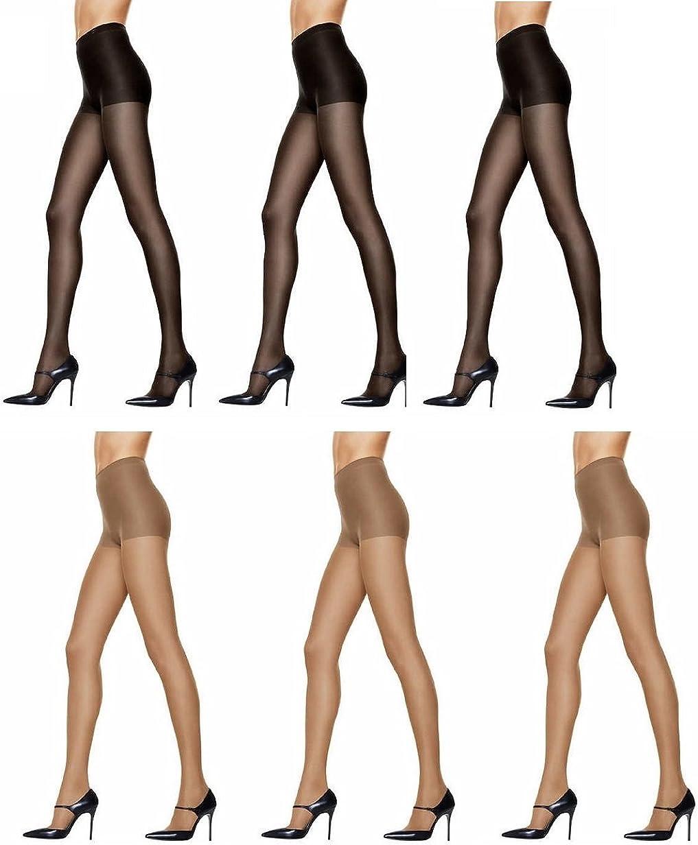 Hanes Women's Silk Reflections Control Top Pantyhose (3 Par Black - 3 Pair Sheer)