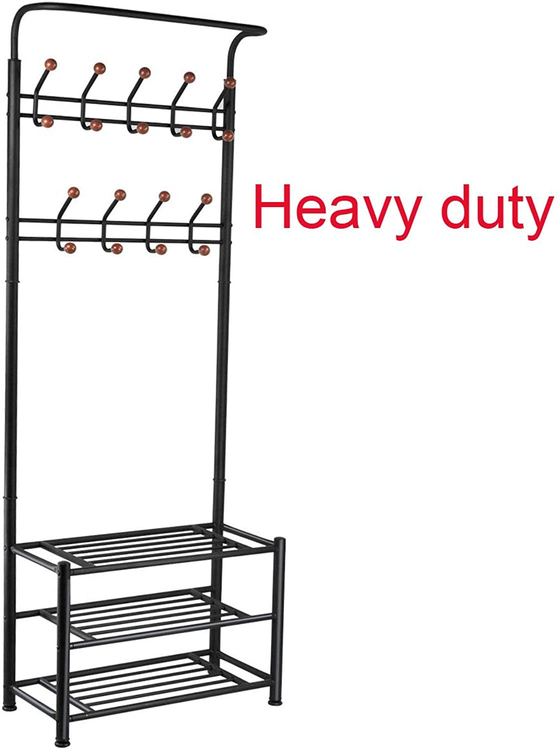 FYHEART Heavy Duty Coat shoes Entryway Rack with 3-Tier shoes Bench Shelves Organizer with Coat Hat Umbrella Rack 18 Hooks for Hallway Entryway Metal, Black