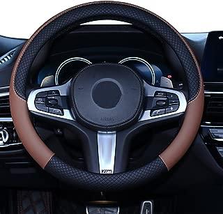 SHIAWASENA Car Steering Wheel Cover, Leather, Universal 15 Inch Fit, Anti-Slip & Odor-Free (Black&Brown)