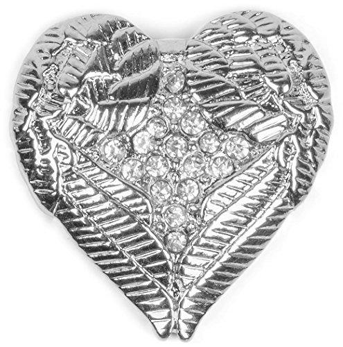 styleBREAKER Colgante de bisutería magnético con diseño de corazón con alas y estrás para la Ropa, chales, pañuelos y Ponchos, Broche, señora 05050044
