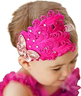 Baby Girl's Headbands Lace Feather Butterfly Head Flower