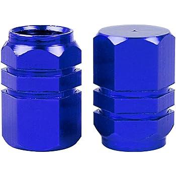 4/pcs Voiture Moteur Pneu de v/élo Bouchons de valve en alliage daluminium Cap pour jantes de voiture Bleu