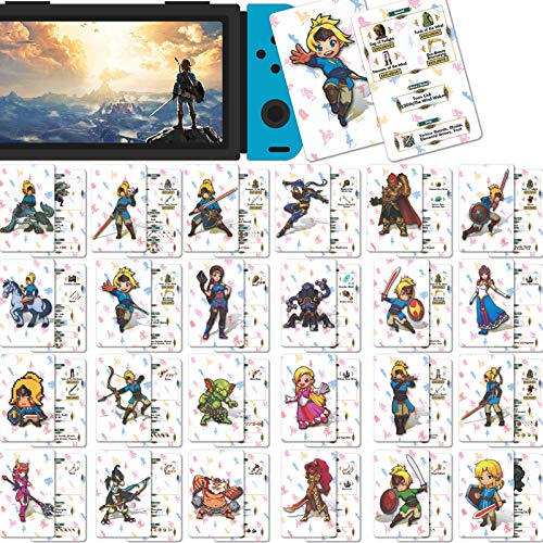 24 Pcs NFC Tag Cards for The Legend of Zelda Breath of The Wild, Botw for Link's Awakening for Switch/Switch Lite/Wii U [Mini Size]