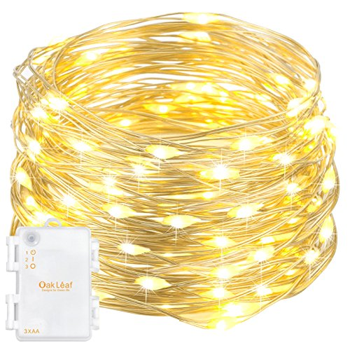 Oak Leaf 101009 60-LED Starry Fairy String Lights Silver Wire,Battery Operated,9.8ft, 1-Pack, Warm White