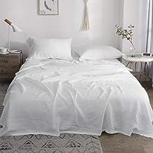 مجموعة ملاءات من الكتان النقي من Simple&Opulence Queen مكونة من 4 قطع ملاءة سرير فرنسية (1 ملاءة مسطحة، 1 ملاءة جاهزة، 2 أ...
