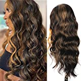 AISI HAIR Long Dark Brown Wavy Wig with Highlights for Black Women Side Part Brown Mixed Blonde Wavy Wig No Bangs Natural Sythetic Wavy Wig Amazon for Daily Use
