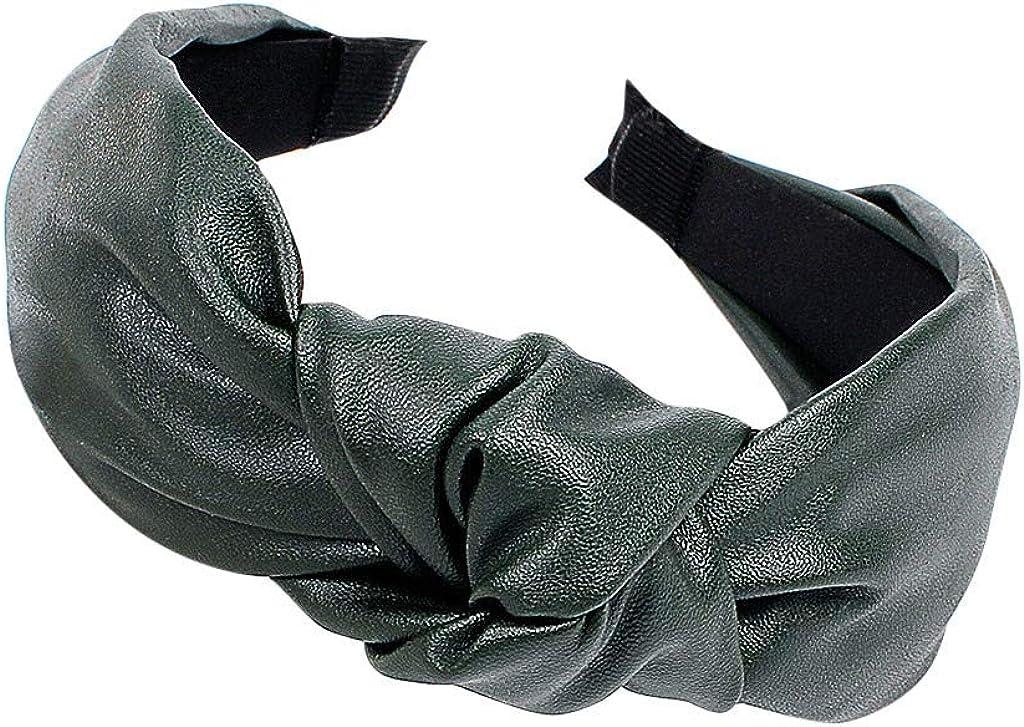 VISOEP Womens PU Leather Knotted Wide-brimmed Headband Tie Hairband Hairpin Hair Head Hoop
