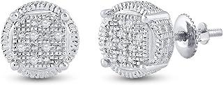 FB Jewels 925 أقراط من الفضة الاسترليني للرجال دائرية الماس العنقودية .03 Cttw (الحجر الأساسي: I3 وضوح؛ G-H)
