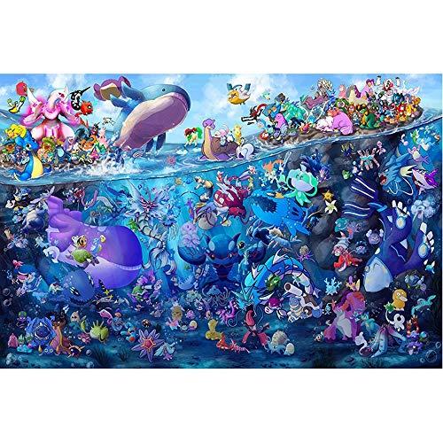 Jqchw Alta dificultad del rompecabezas de Pokemon Puzzle Plane 1000 unidades de madera del rompecabezas niños rompecabezas colección del cartel de Inicio Impreso HD juego de rompecabezas for adultos j