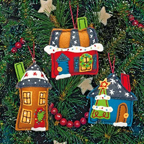 Dimensions Holiday Homes Wool Felt Applique Ornaments Kit, 3 pcs
