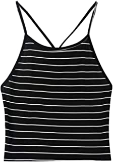 Wintialy Women's Sleeveless Striped Halter Cami Tank Tops Backless Crop Tops