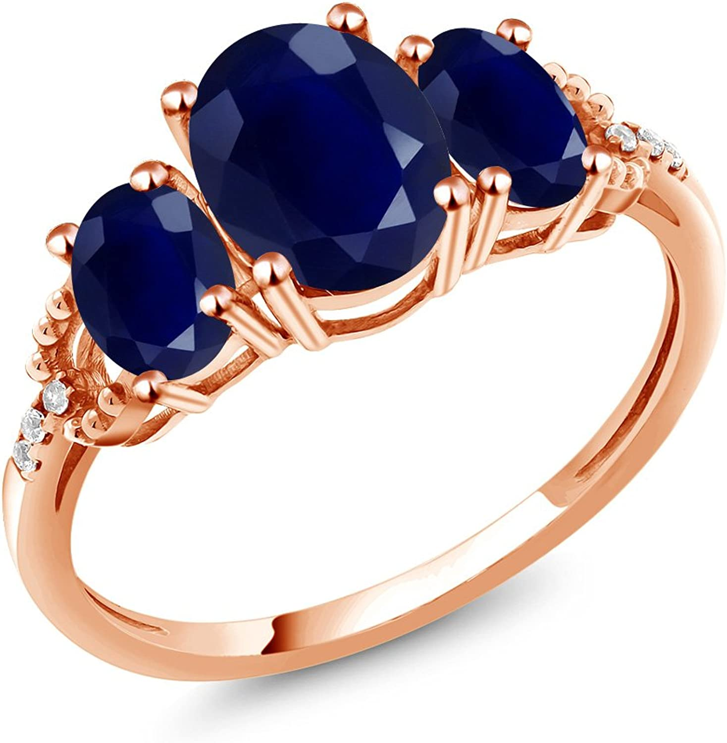 2.93 Ct Oval bluee Sapphire 10K pink gold Diamond Accent Ring