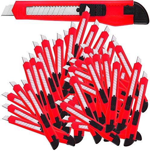 Deuba 50 x Teppichmesser Rasterautomatik Abbrechklinge 9mm Klingenbreite Cuttermesser Paketmesser Sicherheitsmesser