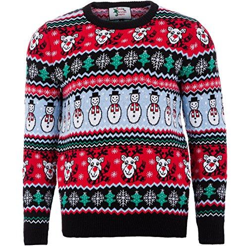 British Christmas Jumpers Comic Xmas Mens Christmas Jumper Pull, Noir (Black), (Taille Fabricant: Medium) Homme