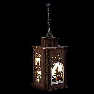 VICASKY Xmas Wooden House Lantern Wooden Christmas Santa Claus LED Lamps Flickering Holiday Tree Hanging Lights Seasonal D...
