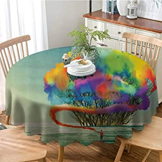 Fantasy Art House Decor Wrinkle Free Anti-Fading Tablecloths Psychedelic Man Draws Abstract Tree with Colored Smoke Flare Be Creative Table Cover for Wedding Party 71 Inch Round Multi
