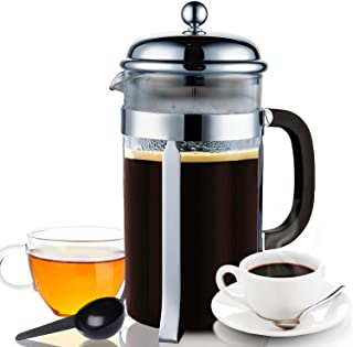 Coffee Press French Press 3in1 Coffee Maker for Coffee/Loose Tea/Milk Frother Set (34Oz/1000ML, 8 Cups) Triple Filters + Heat Resistant Borosilicate + Stainless Steel Plunger Glass Dishwasher Safe