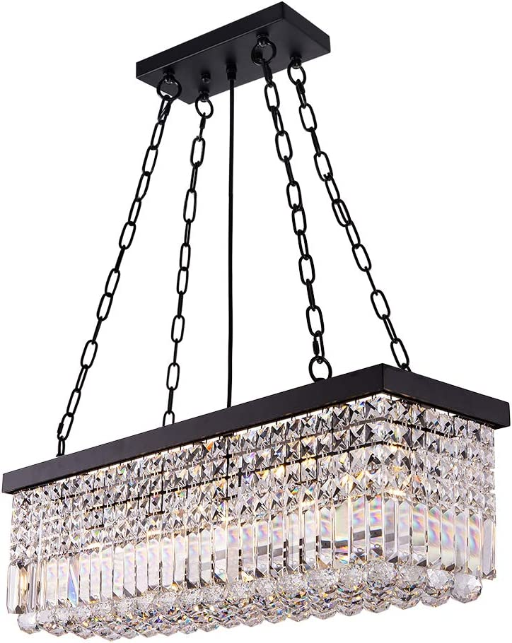 Wellmet Max 73% OFF Crystal Linear Reservation Chandelier Rectangul Light Black Fixture