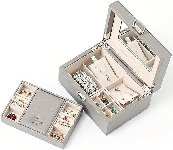 Vlando Wooden Jewelry Box Jewelry Organizer And Storage Grey