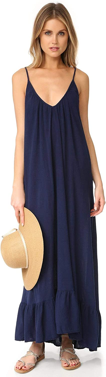 9seed Paloma Maxi Swim Cover Up V Neck Dress Pacific Navy bluee