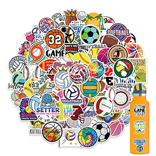 100PCS Sports Stickers, Volleyball Basketball Football Stickers Mixed Vinyl Waterproof Stickers for HydroFlask Water Bottle Laptop Computer Skateboard MacBook for Teens and Adults
