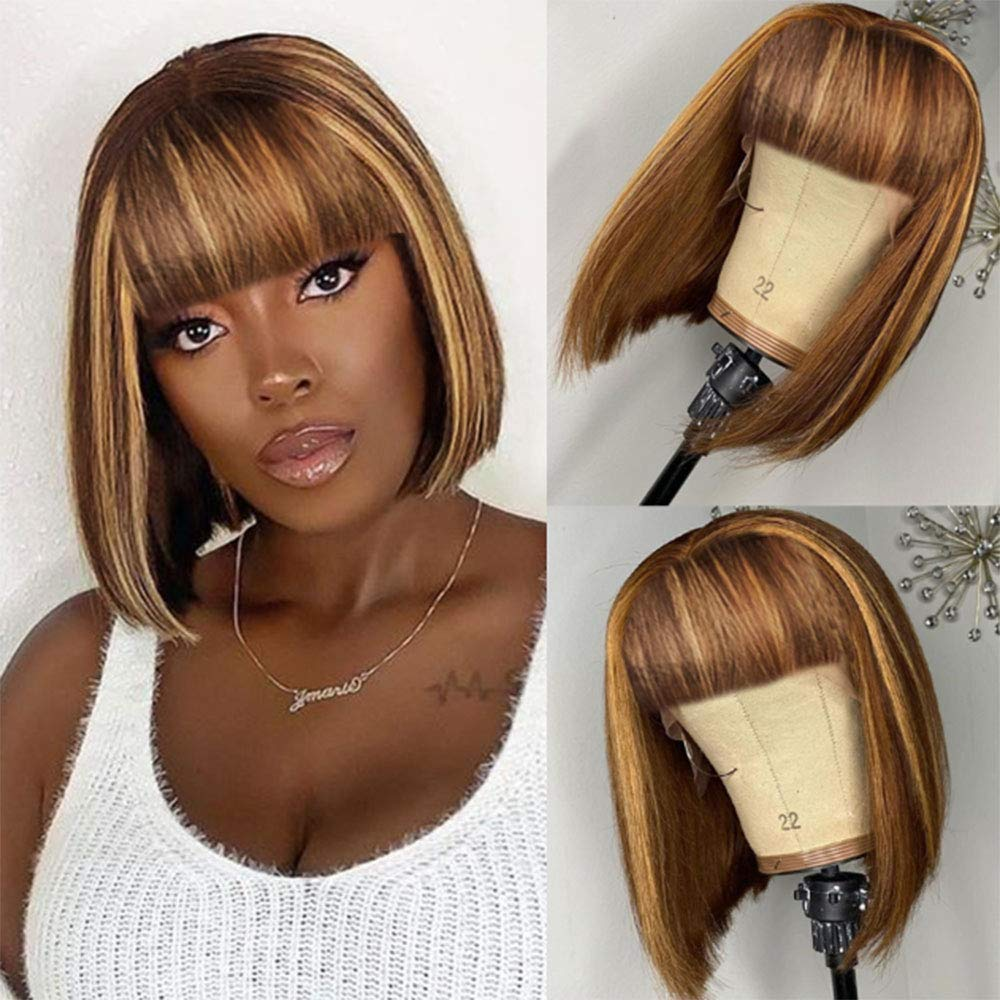 Highlight Non Lace Department store Front Human Hair Bangs Wigs With for Ma Women Max 61% OFF