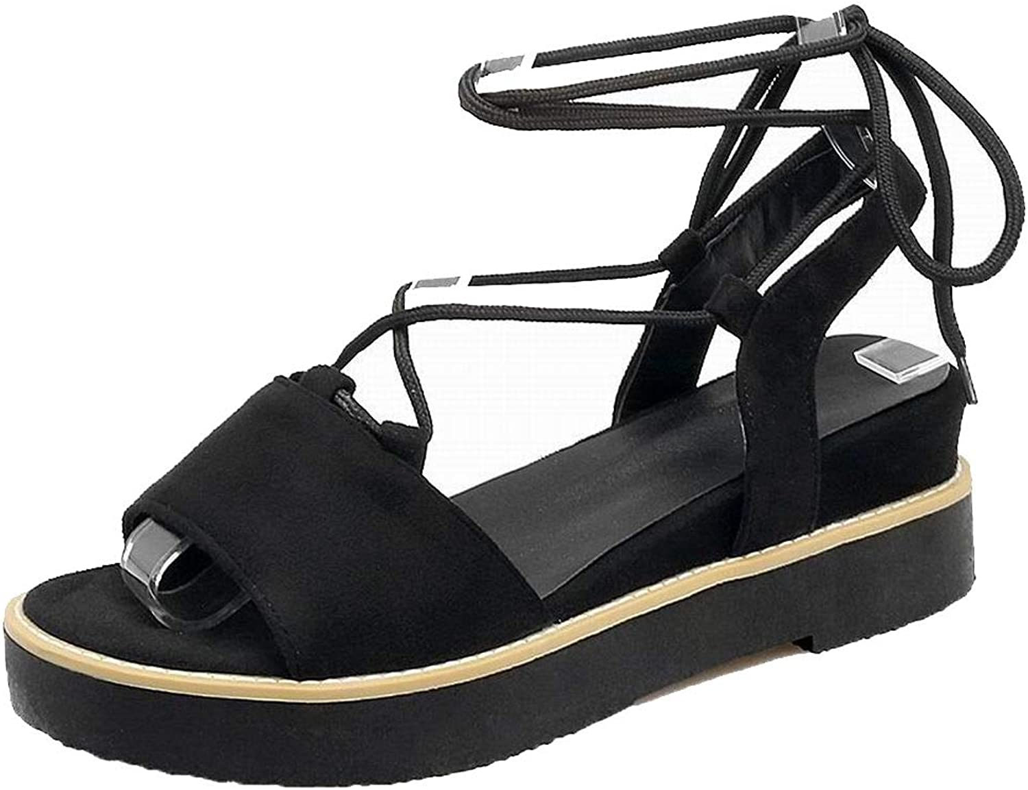 WeiPoot Women's Solid Frosted Low-Heels Lace-Up Open-Toe Sandals, EGHLH007864