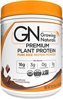 Growing Naturals Organic Premium Rice Protein Powder, Chocolate Power, Non-GMO, Vegan, 16.8 Ounce
