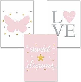 PREMYO 3 Affiche Décoration Murale - Décoration Chambre Bébé Fille - Cœur Papillon Rose Papier Épais Format A4