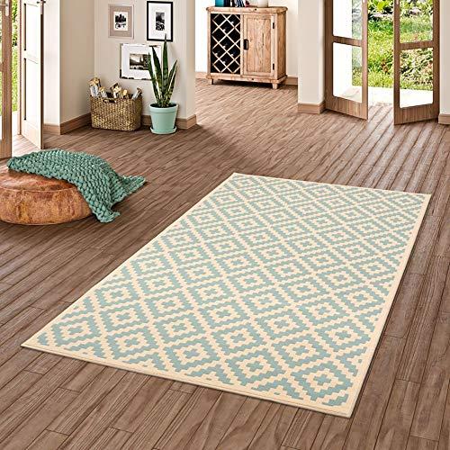 Pergamon Designer Teppich Passion Rauten Modern Blau in 5 Größen