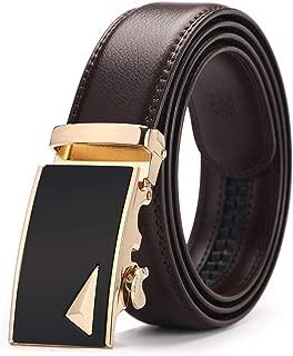 Brown leather Belt for Men Luxury Fashion Automatic Buckle Ratchet Belts Comfort Click leather Belt