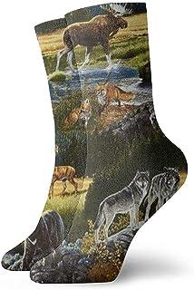 Dydan Tne, Mountain Wildlife Nature Bear Moose Dress Calcetines Divertidos Calcetines Locos Calcetines Casuales para niñas Niños