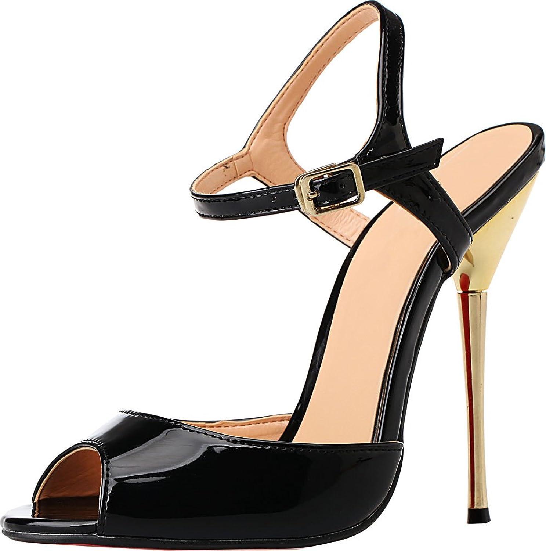 Vimedea Womens Heeled Nightclub Party Cross Dressing Oversize Slingback PU Sandals A-3