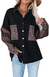 Greetuny Women's Loose Denim Jackets Long Sleeve Lapel Denim Jacket Leopard Spliced Boyfriend Jean Coat