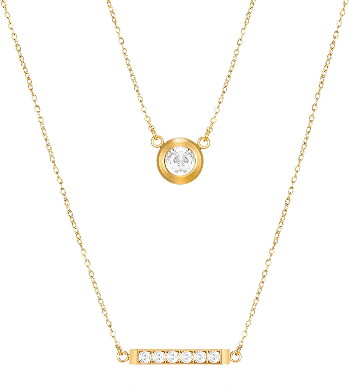VANOVEI Women safety Layered Necklace 18K Neckla Plated Multilayer Gold Finally resale start