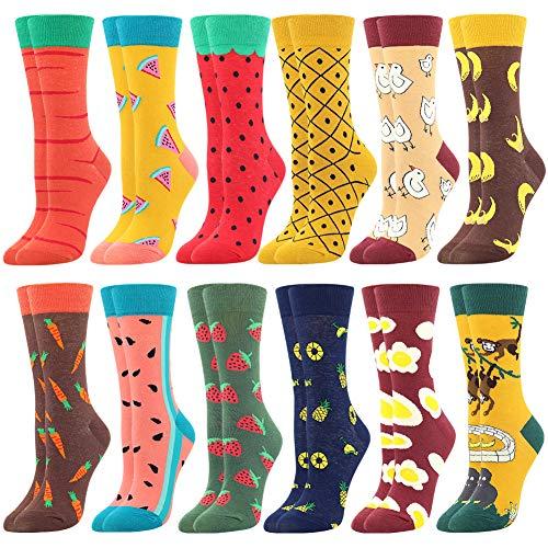 BONANGEL Calcetines Estampados de las Mujeres, Mujeres Ocasionales Calcetines Divertidos Impresos de Algodón de Pintura Famosa de Arte Calcetines, Calcetines de Colores de moda (12 Pares-Fruits)