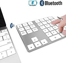 Wireless Numeric Keypad, JOYEKY Aluminum Bluetooth Number Pad 34-Keys External Number Keyboard Shortcut Keypad Data Entry Compatible iMac MacBook Air, MacBook Pro, MacBook and Mac Mini etc (Silver)