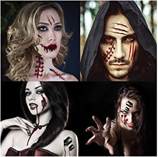Garma Halloween Temporary Tattoos - Scar Wound Blood Bleeding Tattoo Stickers+ HQ Temporary Tattoo for Halloween Party Cos Play Costume(42 Sheets)