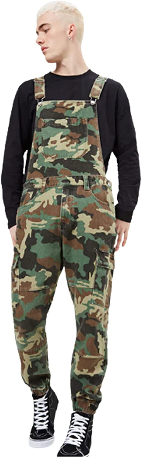 YUIJ Men's Denim Bib Overalls,Casual Camouflage Overall,Slim Fit Jumpsuit with Pockets