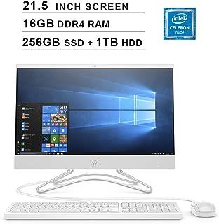 2019 HP Pavilion All-in-One 21.5 Inch FHD 1080P Desktop (Intel Celeron G4900T 2.9GHz, 16GB DDR4 RAM, 256GB SSD (Boot) + 1TB HDD, Intel UHD Graphics 610, WiFi, Bluetooth, HDMI, Windows 10) (White)