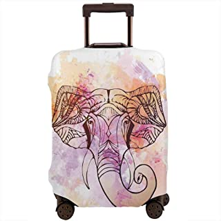 Travel Luggage Cover,Oriental Wisdom Of Soul Heroic Figure Tattoo Paintbrush Art Suitcase Protector