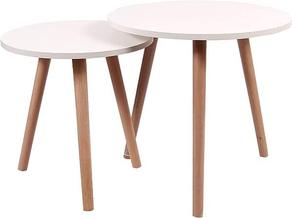 REDCAMP 嵌套咖啡桌 2 套白色中世纪现代圆形客厅用木腿桌