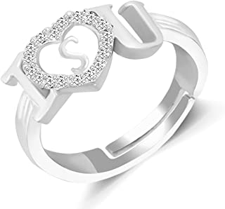 MEENAZ CZ Brass American diamond Adjustable I Love You Heart Silver Initial Letter Alphabet S AD Finger Rings for women's ...