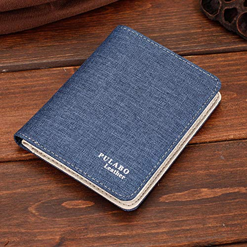 Portafoglio in tela da uomo corto versione coreana di portamonete con cerniera ultrasottile portamonete multi-carte giovanile-blu verticale