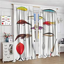 GUUVOR Fishing Decor Premium Blackout Curtains Netting Materials with Swivel Sinkers Fly Rods Floats Gaffs Recreational Pastime Kindergarten Noise Reduction Curtains W108 x L108 Inch Multi