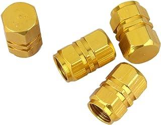 F Fityle 2 Paar Ventilkappen für Auto, Motorrad und Fahrrad Ventildeckel Autoventilkappen   Gold