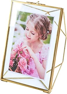 Levilan 4x6 inch Multi Glass Picture Frame – Family Photo Display for Desk or Wall, Nordic Geometry Home Decor Double Glass & Brass Metal (4x6)