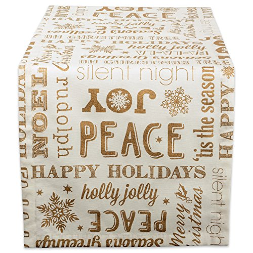 DII Collection Metallic Christmas, 14x72, Gold Holiday Collage