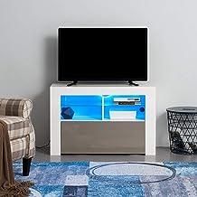 Meuble TV LED en MDF avec 5 Compartiments de Stockage sur Salle de Séjour, Salon et Chambre à Coucher, 100 x 35 x 65 cm (G...